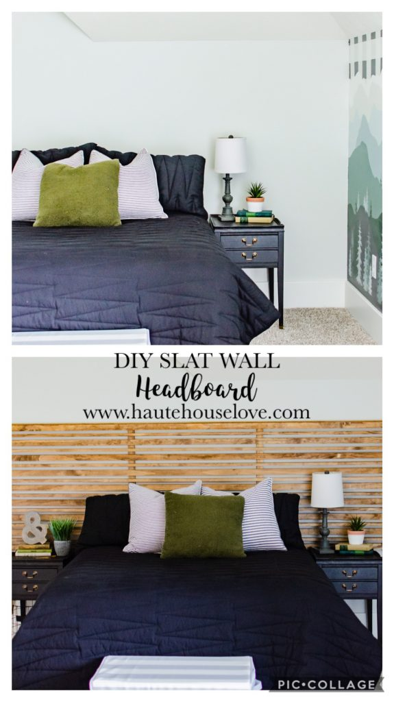 Horizontal wood extra wide headboard with black bedding and vintage side tables.