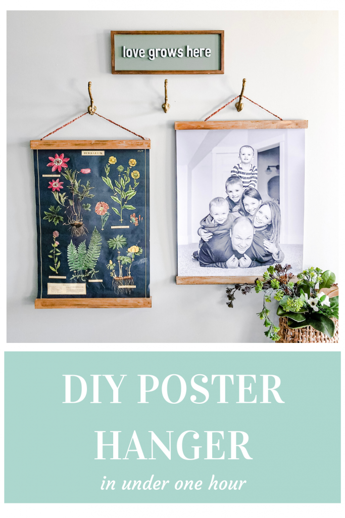 Two poster size images (one botanical print and one family prine) in a DIY wood poster frame.