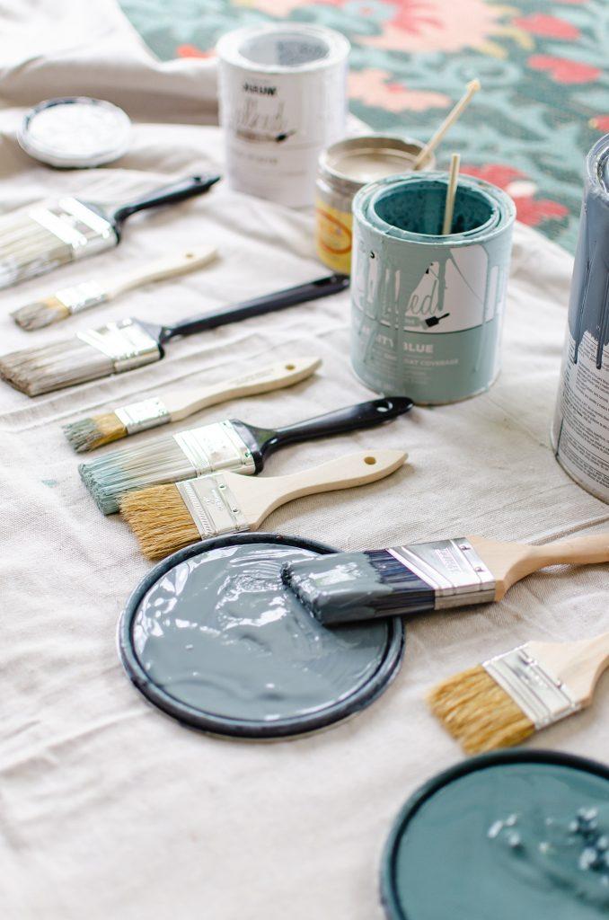 Various paints for painted terracotta pots