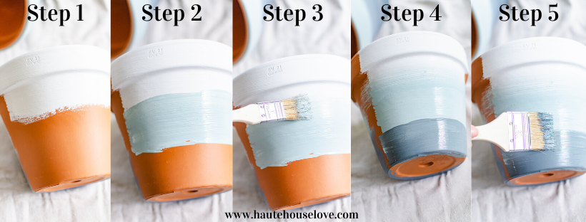 Step by step painted planter DIY project.