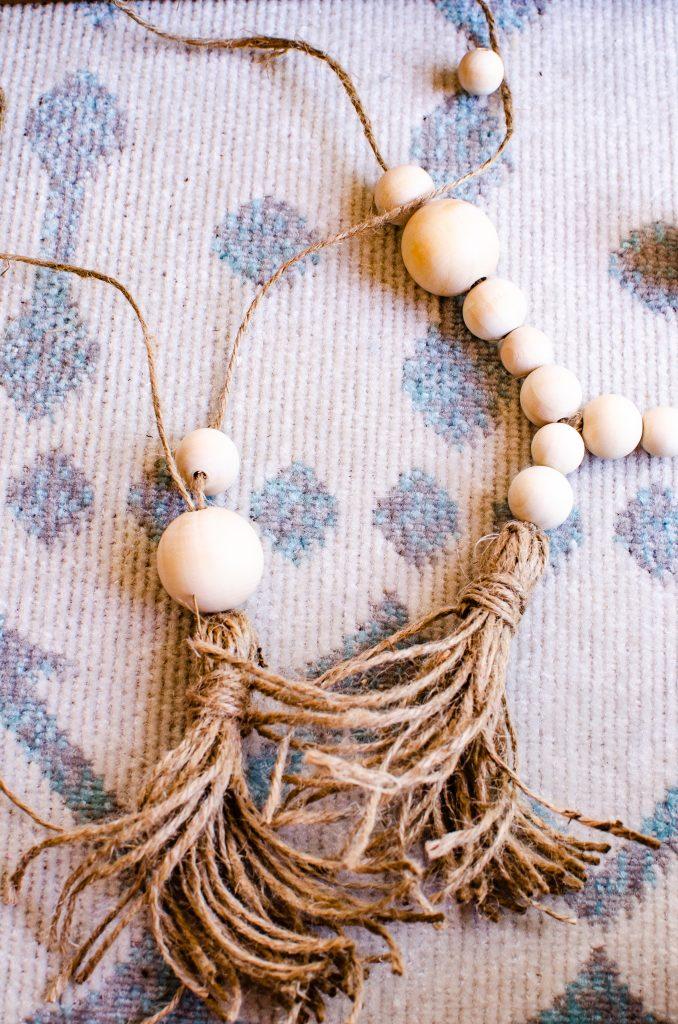 Natural Wooden Beads and Jute for DIY Beaded Tassel Tie Back | HauteHouseLove.com