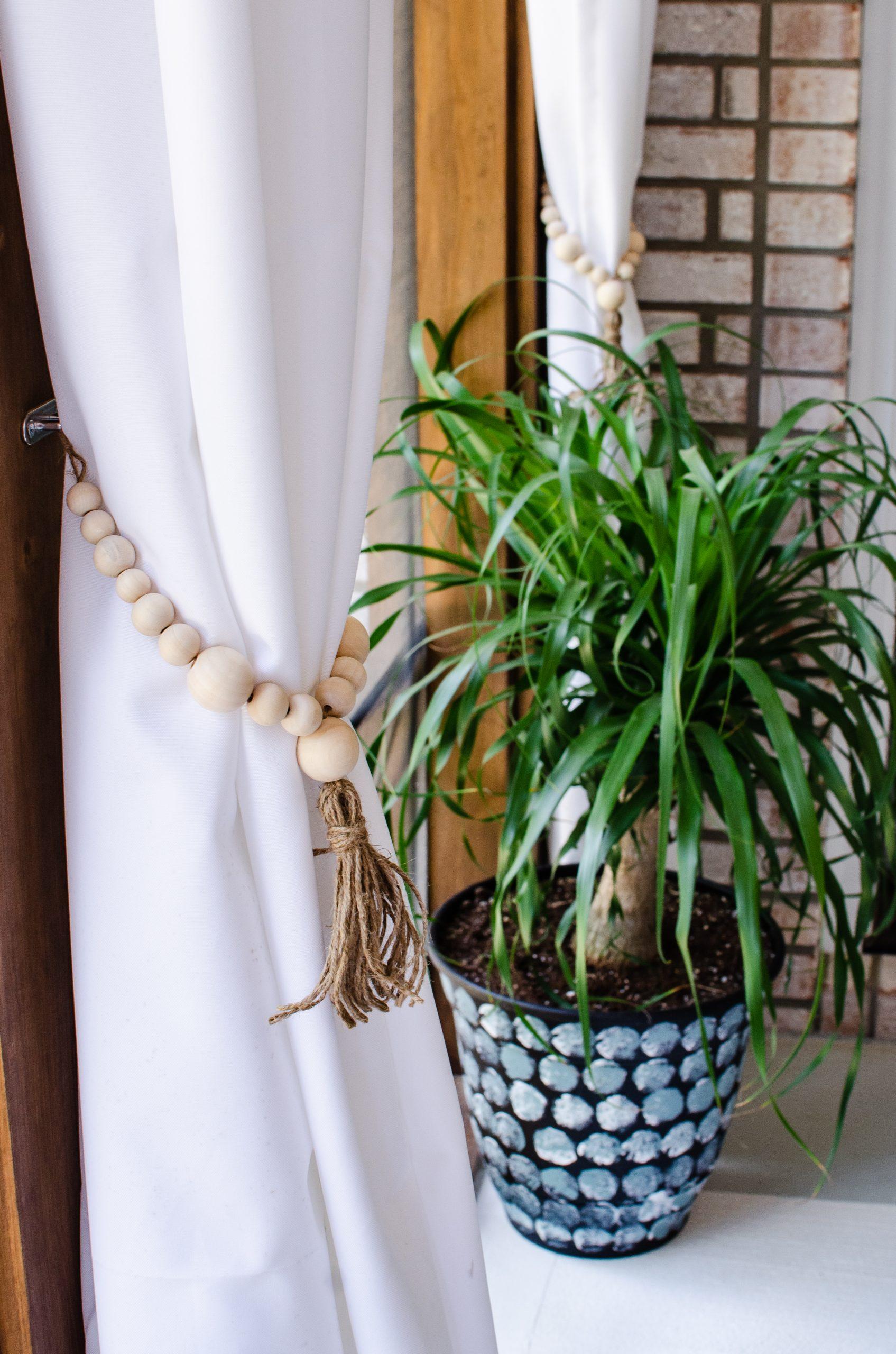 DIY Beaded Tassel Curtain Tie Backs on HauteHouseLove.com