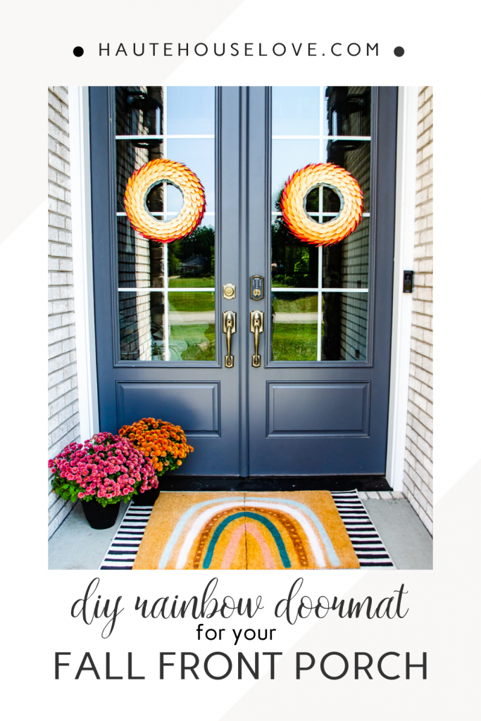 Fall Front Porch with DIY Doormat