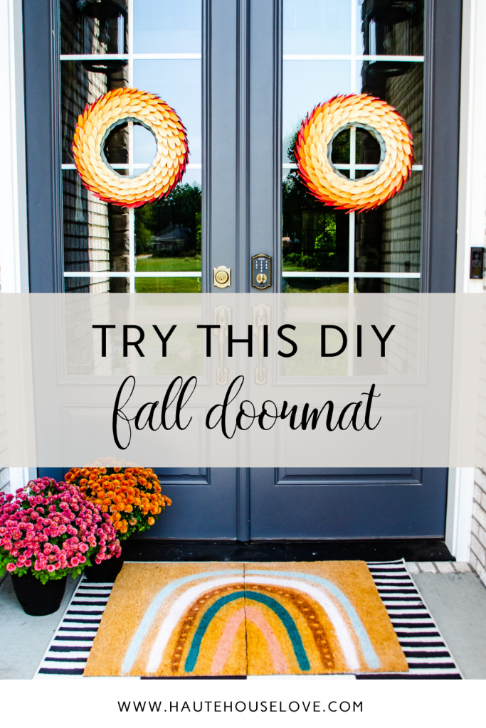fall front porch with rainbow doormat