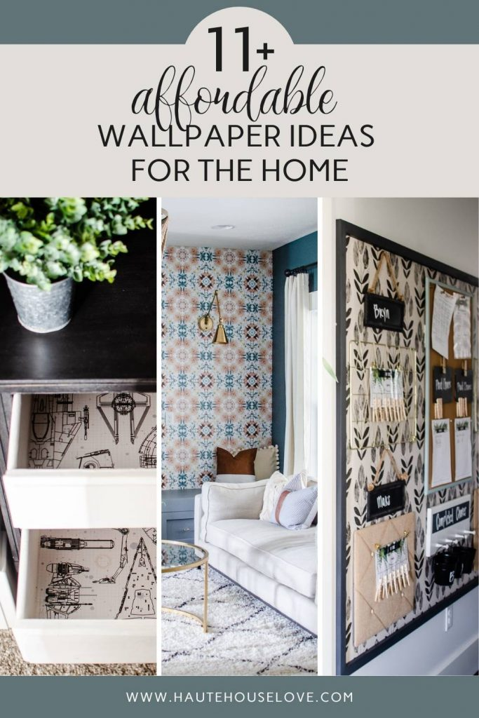 wallpaper in a dresser drawer, wallpaper as a living room accent wall. framed wallpaper on a large chore chart wall.