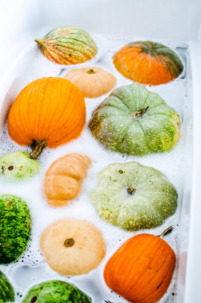 pumpkins in a bubble bath