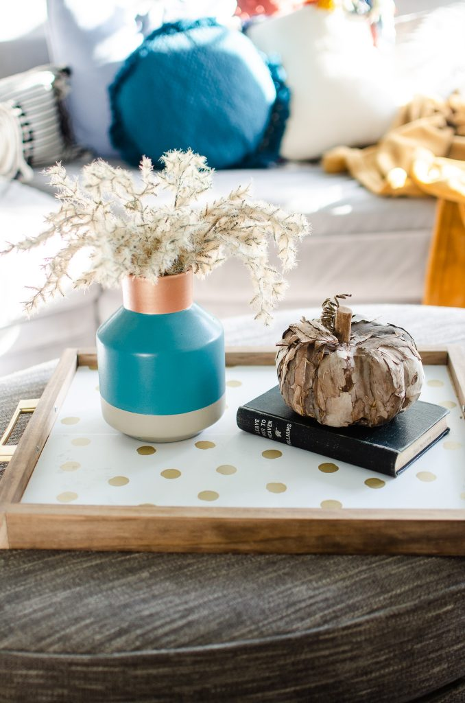 Fall decor on a wallpaper lined tray