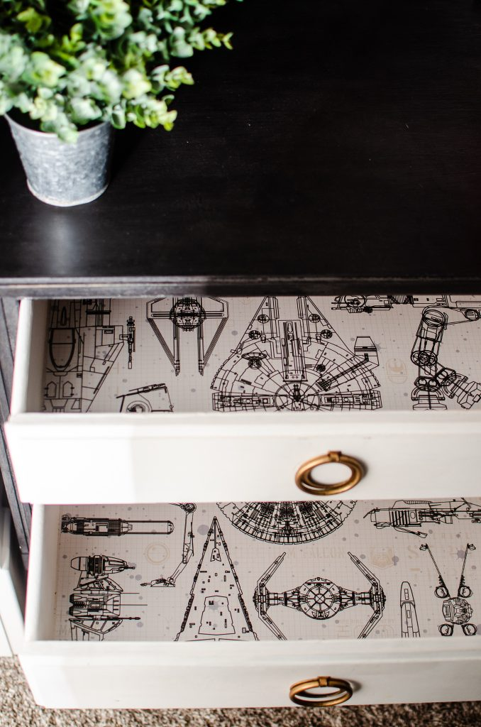Black and White Wallpaper inside a Drawer.