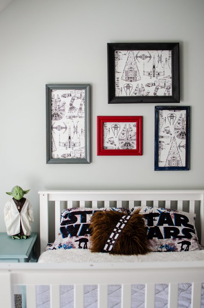 A creative kids space with Star Wars art, using wallpaper.
