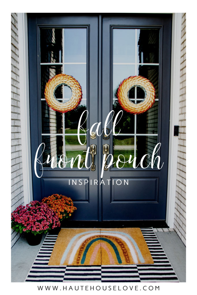 Fall Front Porch Inspiration with Fall Door Wreaths, Fall Mums and DIY Fall Rainbow Doormat