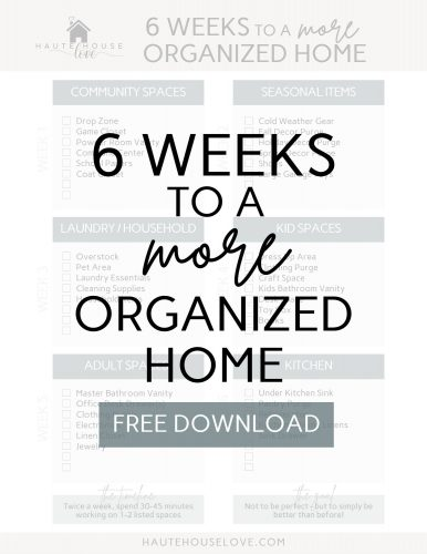 Home Organizing FREE downloadable checklist