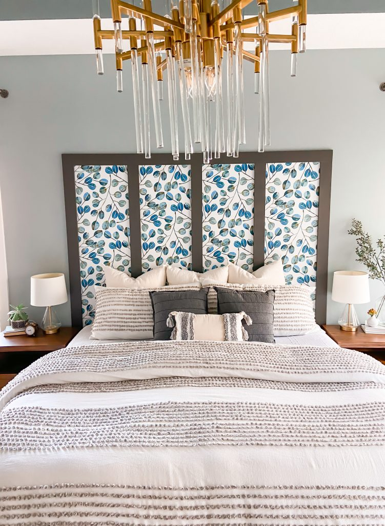 Blue and White Master Bedroom with wood accents and Sherwin Williams Urbane Bronze