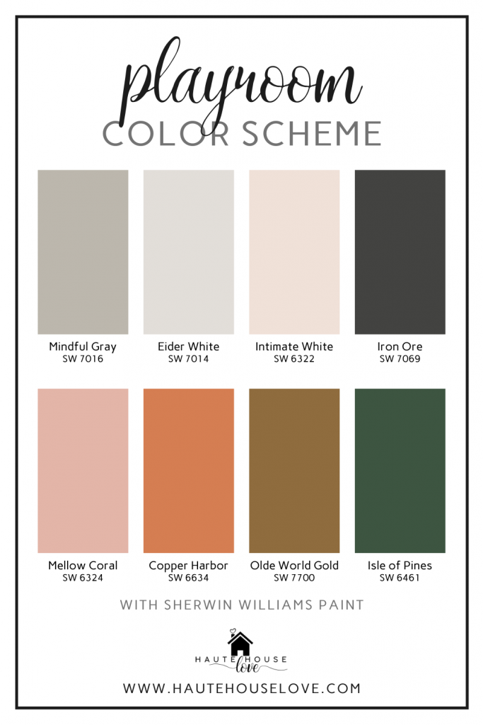 a bold playroom color palette featuring sherwin williams mindful gray, eider white, intimate white, iron ore, mellow coral, copper harbor, olde world gold and isle of pines.