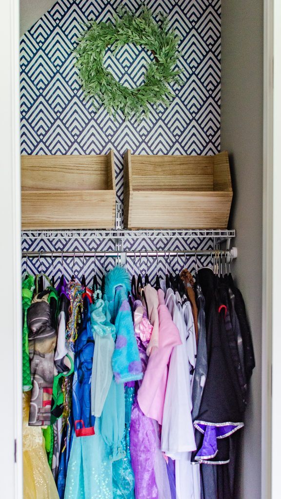 Dress Up Closet Organization with peel and stick wallpaper background