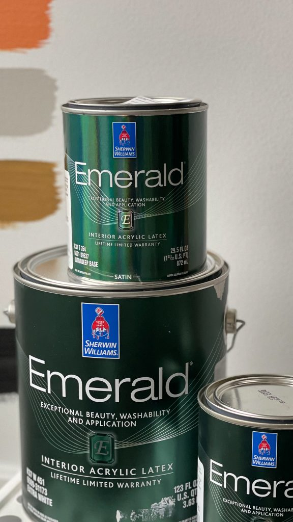 Cans of Emerald Paint by Sherwin Williams