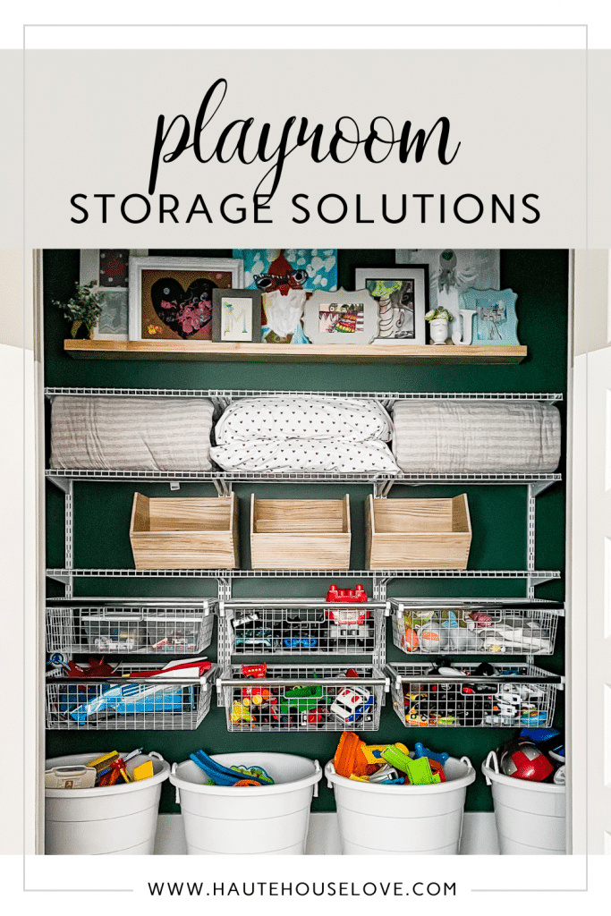 Organized Playroom closet with toy storage