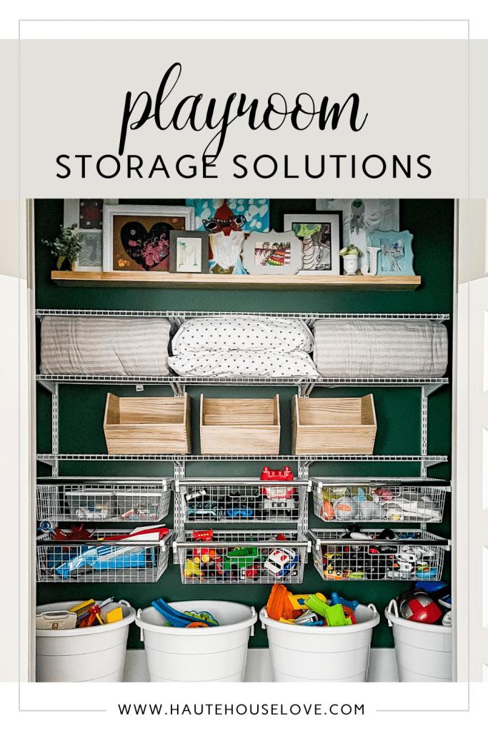 Organized Playroom closet with toy storage
