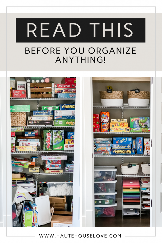Game Closet Organization Before and After