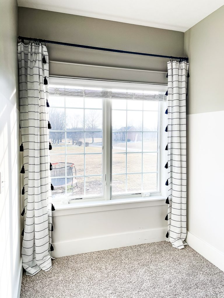 Striped tassel curtains for a playroom