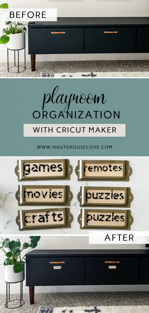 Before and after playroom organization. Wood labels with Cricut Maker.