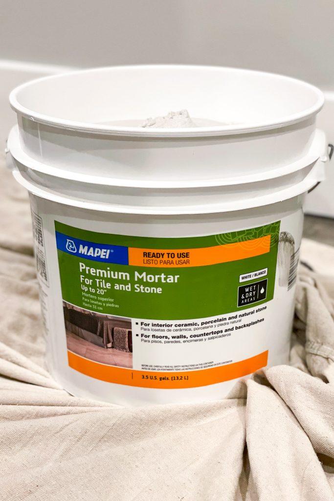 3.5 gallon bucket of pre mixed mortar