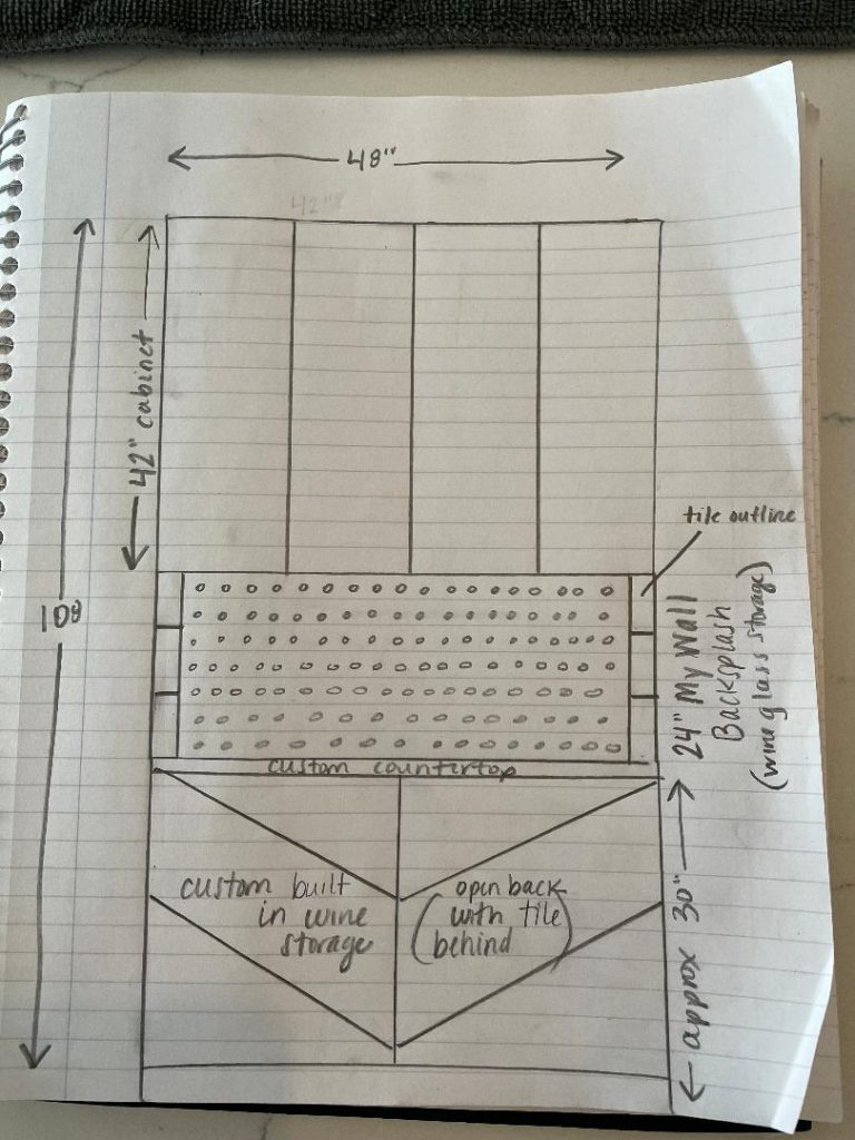 Custom Drawing of Wine Bar Plans