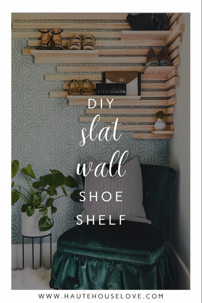 diy slat wall shoe shelf in a master closet