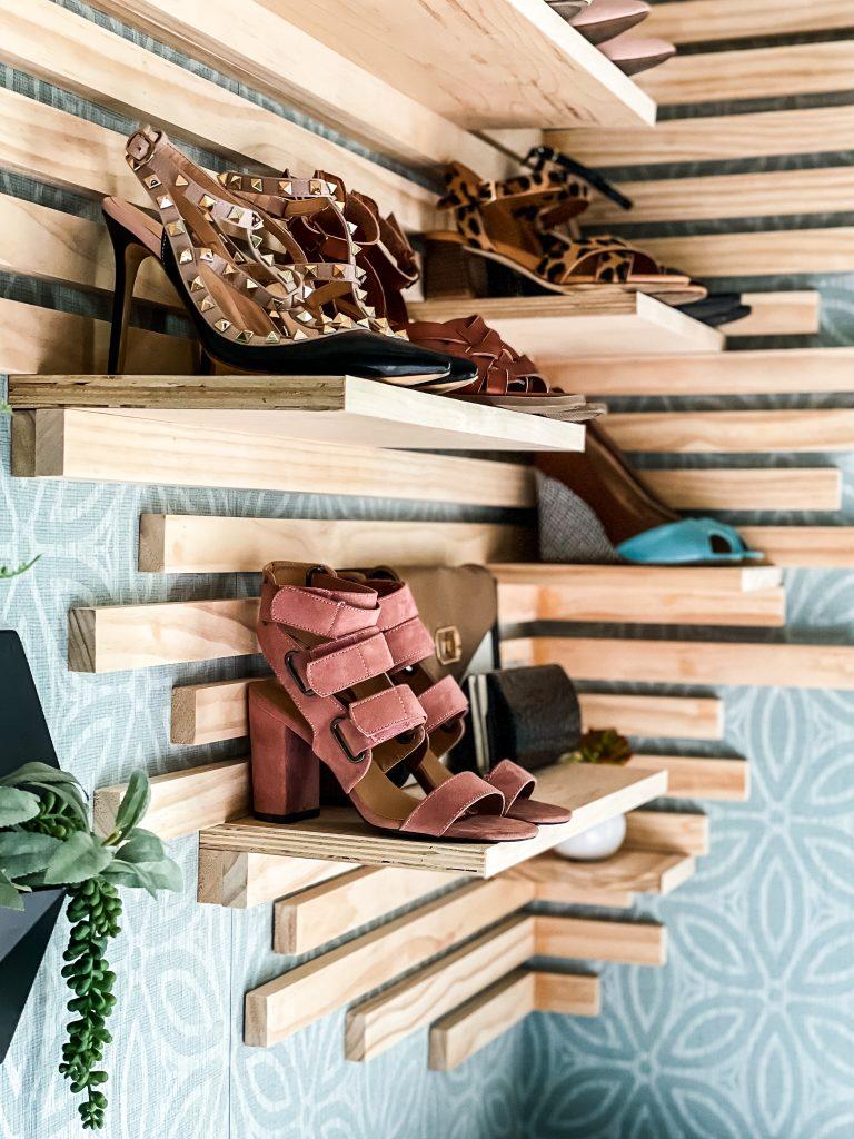 Slat Wall Shoe Shelf on HauteHouseLove.com