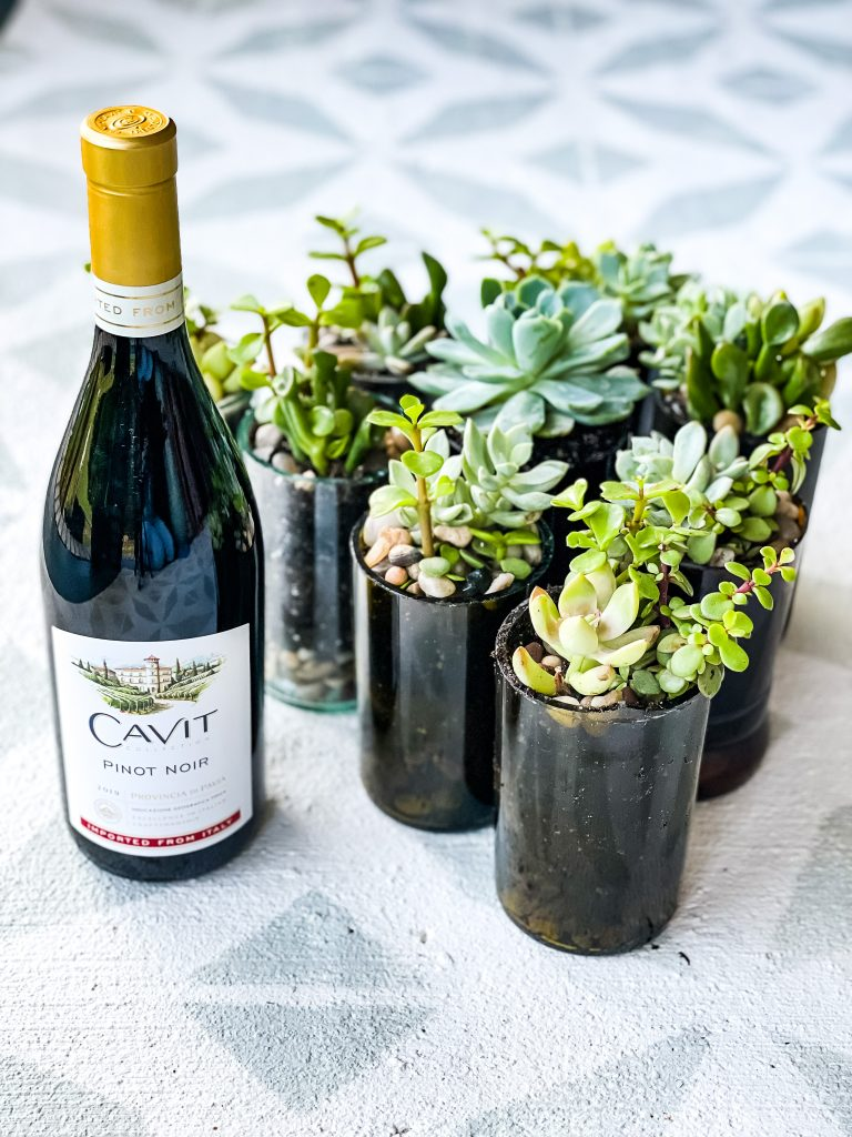 bottle of Cavit wine and succulents in upcycled wine bottles | Random Thoughts from The Weekender on HauteHouseLove.com