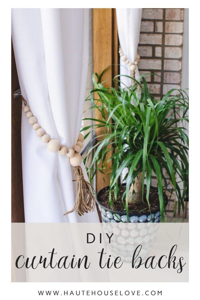 DIY Curtain Tie Backs / wooden bead tie backs, boho design | HauteHouseLove.com