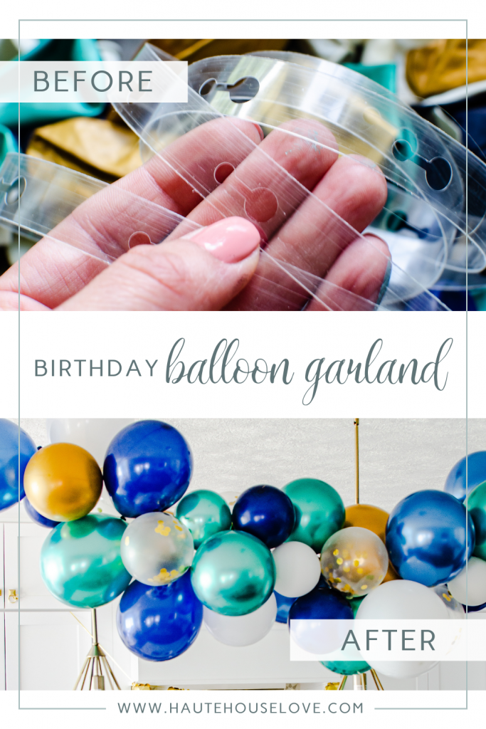 Before and After of a DIY Birthday Balloon Garland | HauteHouseLove.com