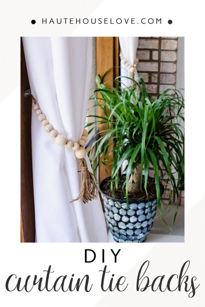 Make these simple beaded curtain tie backs for your indoor or outdoor curtains | HauteHouseLove.com
