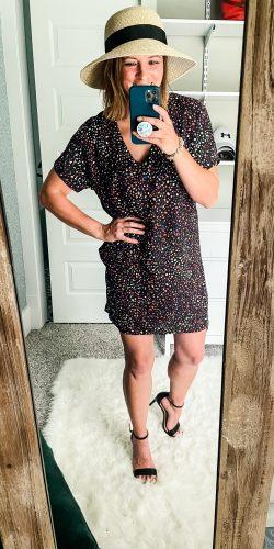 mirror selfie of woman, glitter sparkle shift dress, black heels and summer hat   HauteHouseLove.com