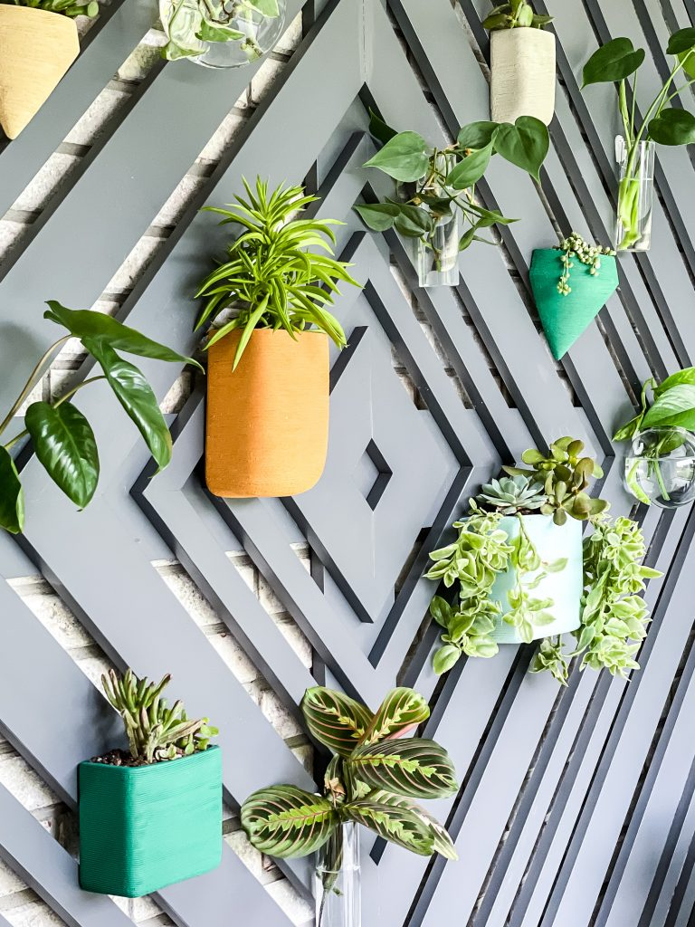 Colorful ceramic planters and glass hanging planters for succulents on a custom wood accent wall   HauteHouseLove.com