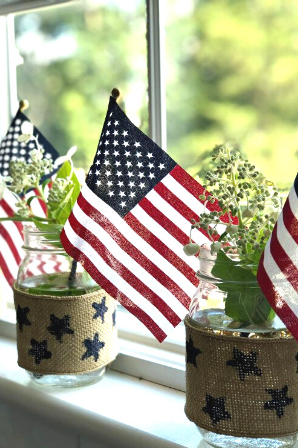 American Flags in glass jars with burlap and stars