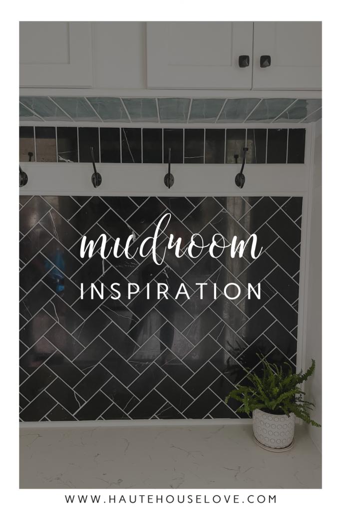 Mudroom Inspiration with black herringbone tiles on HauteHouseLove.com