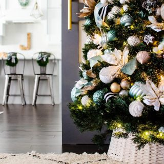 I don't know about you... but I could use a LITTLE extra joy today.. considering our school just announced we will be staying virtual until at LEAST after the holidays.   I announced in stories today that I'll be doing a full Holiday Home Tour on December 10 and sharing little glimpses along the way.. so here's your first peek!!   Our main tree is fully styled and stuffed full of ribbons and florals and ornaments of all sizes in this years beloved color scheme.   Do you have your tree up yet?? RIs yours simple or styled? Filled with family ornaments or a particular color scheme? Share a photo and tag me and I'll spread the Christmas tree joy in my stories!  #holidayhomes #ohchristmastree #styledhome #modernboho