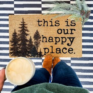 Another holiday sneak peek in the form of a doormat! It took me about 20 minutes to add these trees to the plain side of the doormat and now I have a custom piece that will last all winter long!!   Do you like holiday decor that transitions to winter?? If so I have a bunch more #holidayhacks coming your way very soon!  #holidaydecorating #winterdecor #diydoormat #diyblogger #holidayhacks #cottonstemstance #rustoleum #doormatsofinstagram #christmasdecor #myhousebeautiful #myhousemadehome #bhghome #bhghowiholiday #coffeetime #frontporch #frontporchdecor #howwedwell #howwehome #diyhome